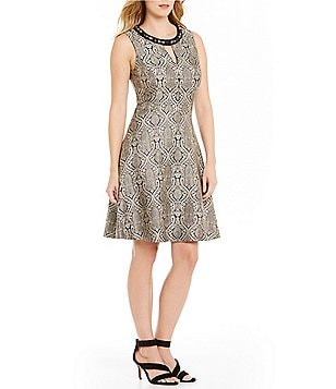 London Times Beaded-Neck Sleeveless Fit-and-Flare Dress