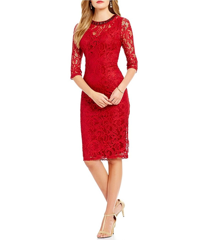 London Times Beaded-Neck Lace Sheath Dress