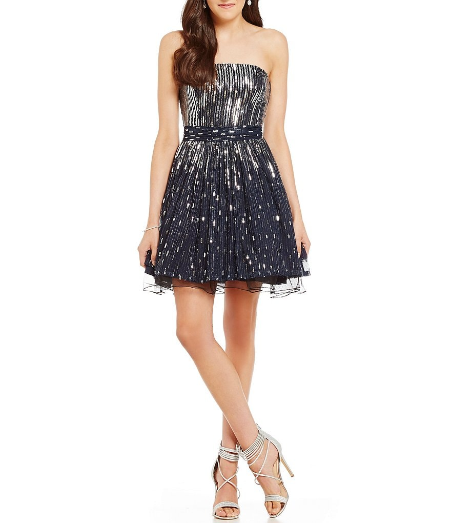 Jodi Kristopher Strapless Sequin Dripped Fit-and-Flare Party Dress