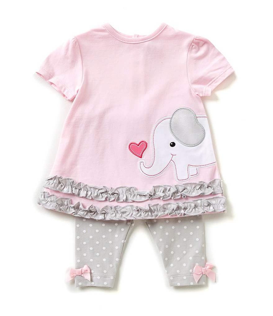 Starting Out Baby Girls 3-24 Months Elephant Ruffle Top and Dotted Leggings Set