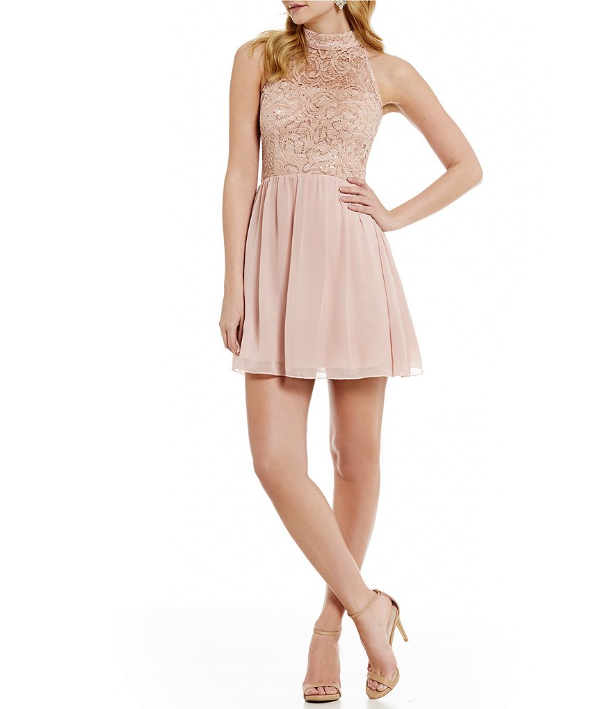 Xtraordinary Mock Neck Sequin Lace Bodice Skater Party Dress