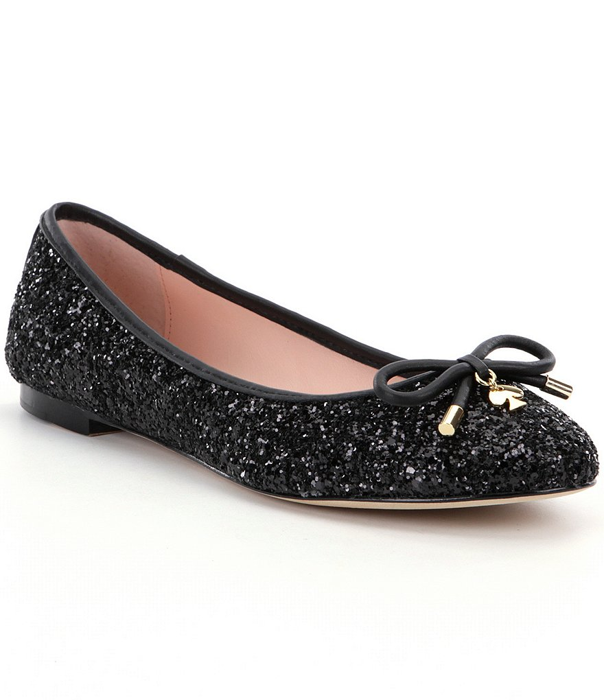 kate spade new york Willa Glitter Bow Detail Leather Ballerina Flats