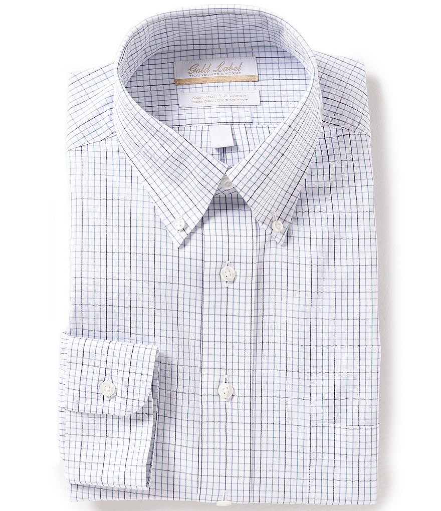 Gold Label Roundtree & Yorke Non-iron Regular Full-Fit Checked Button-Down Collar Dress Shirt