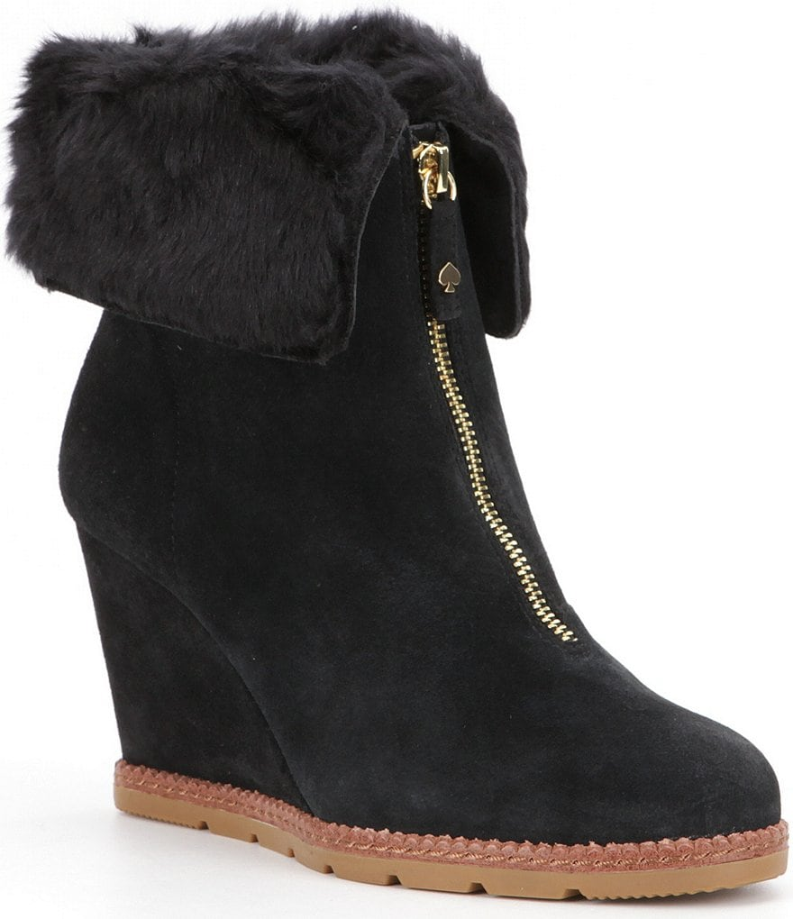 kate spade new york Faux Fur Stasia Wedge Booties