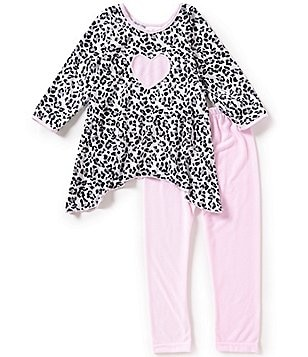 Laura Dare Little Girls 4-6X Cheetah-Print Sharkbite Hemline Heart Pajama Set