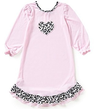 Laura Dare Little Girls 4-6X Ruffle Heart Cheetah-Print Trim Gown