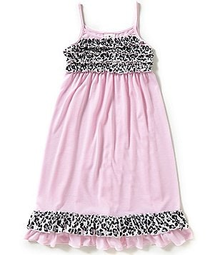 Laura Dare Big Girls 7-14 Ruffled Cheetah-Print Trim Tank Sleepwear Gown