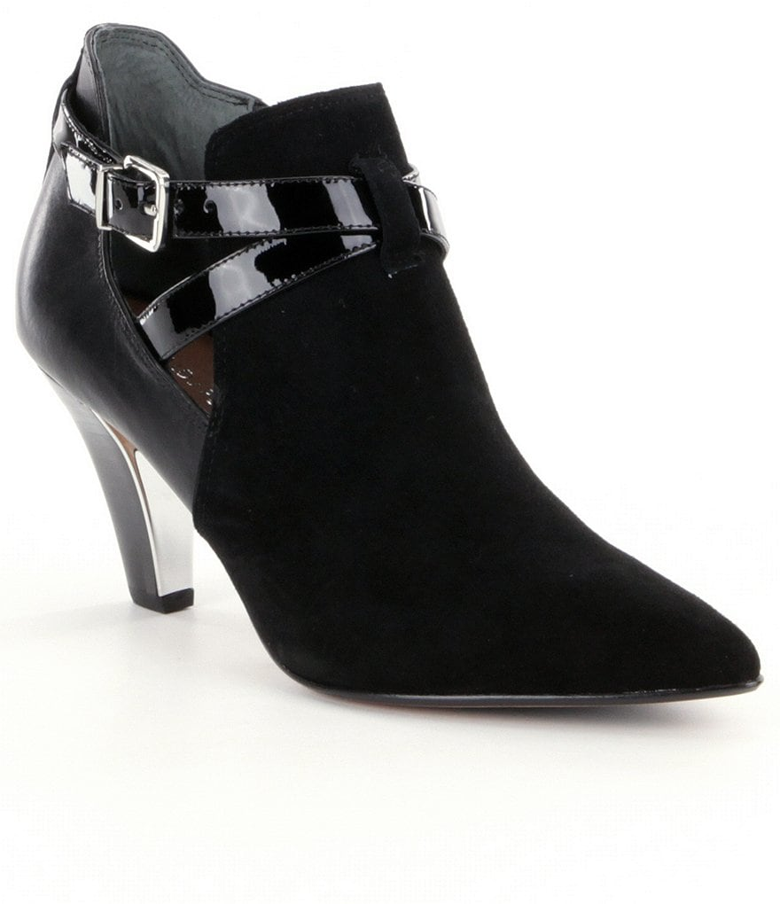 Donald J Pliner Tamy Suede Side Cutout Leather Strap Booties