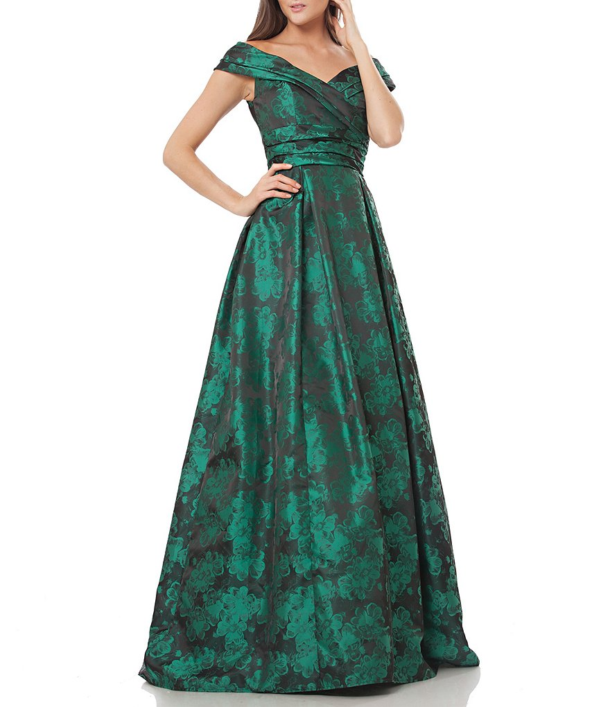 Carmen Marc Valvo Infusion Off-the-Shoulder Cap Sleeve Jacquard Ball Gown