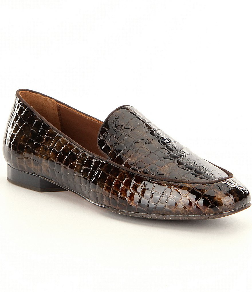 Donald J Pliner Helene Croco-Embossed Patent Leather Dress Loafers
