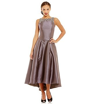 Carmen Marc Valvo Infusion Beaded Neckline Hi-Low Midi Dress