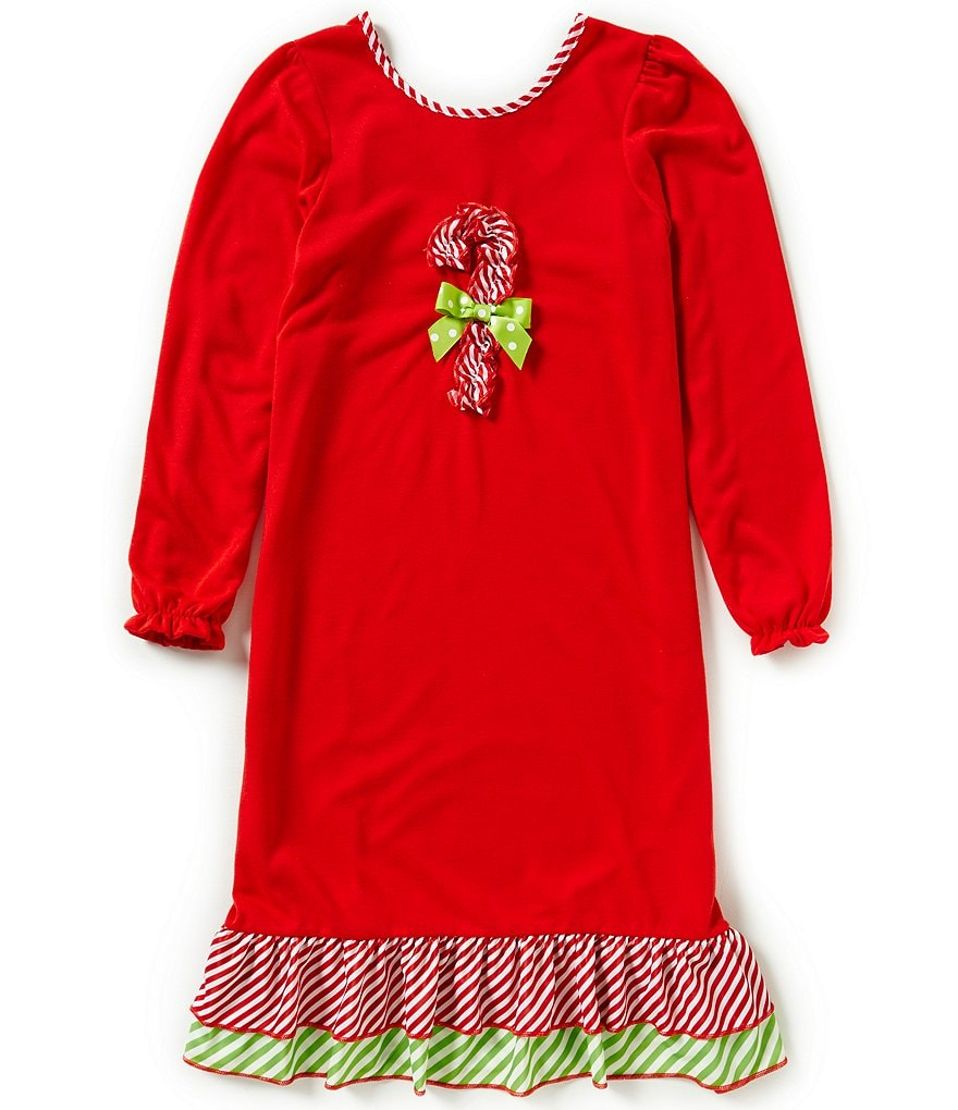 Laura Dare Big Girls 7-14 Christmas Candy-Cane Nightgown