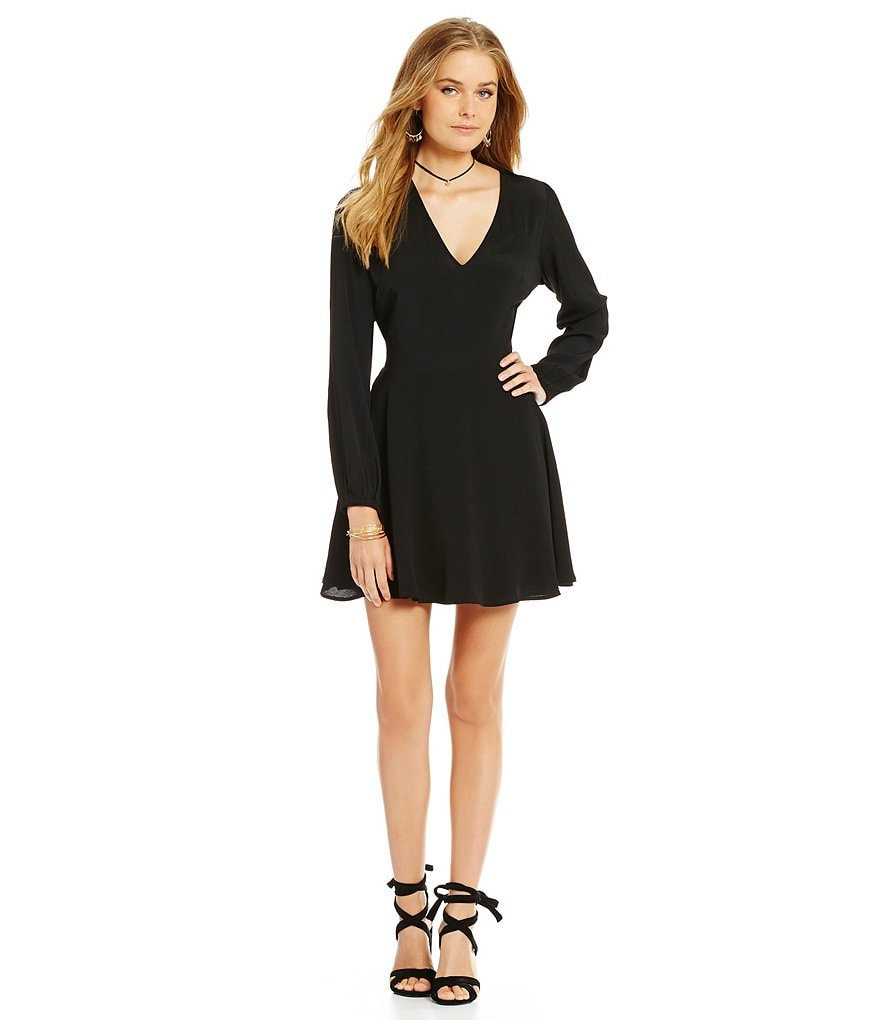 Lovers + Friends Shimmy V-Neck Fit-and-Flare Dress