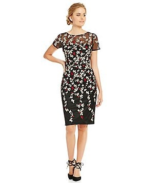 David Meister Illusion Neck Embroidered Sheath Dress