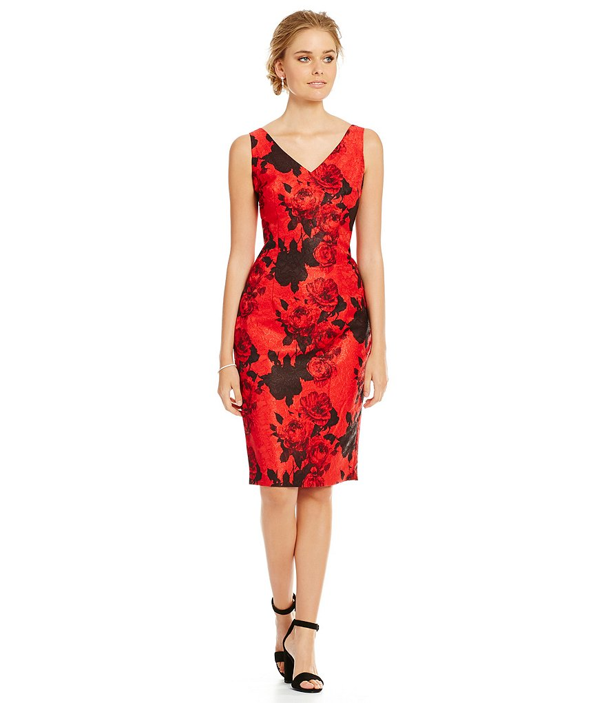 David Meister V-Neck Jacquard Midi Sheath Dress
