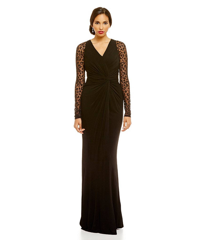 David Meister Illusion Long Sleeve V-Neck Ruched Gown
