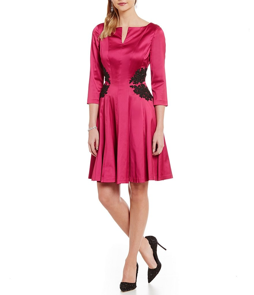 Kay Unger Slit Neck Fit-and-Flare Dress