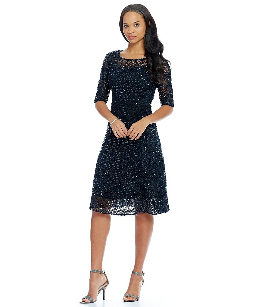Kay Unger Sequin lace Midi Dress