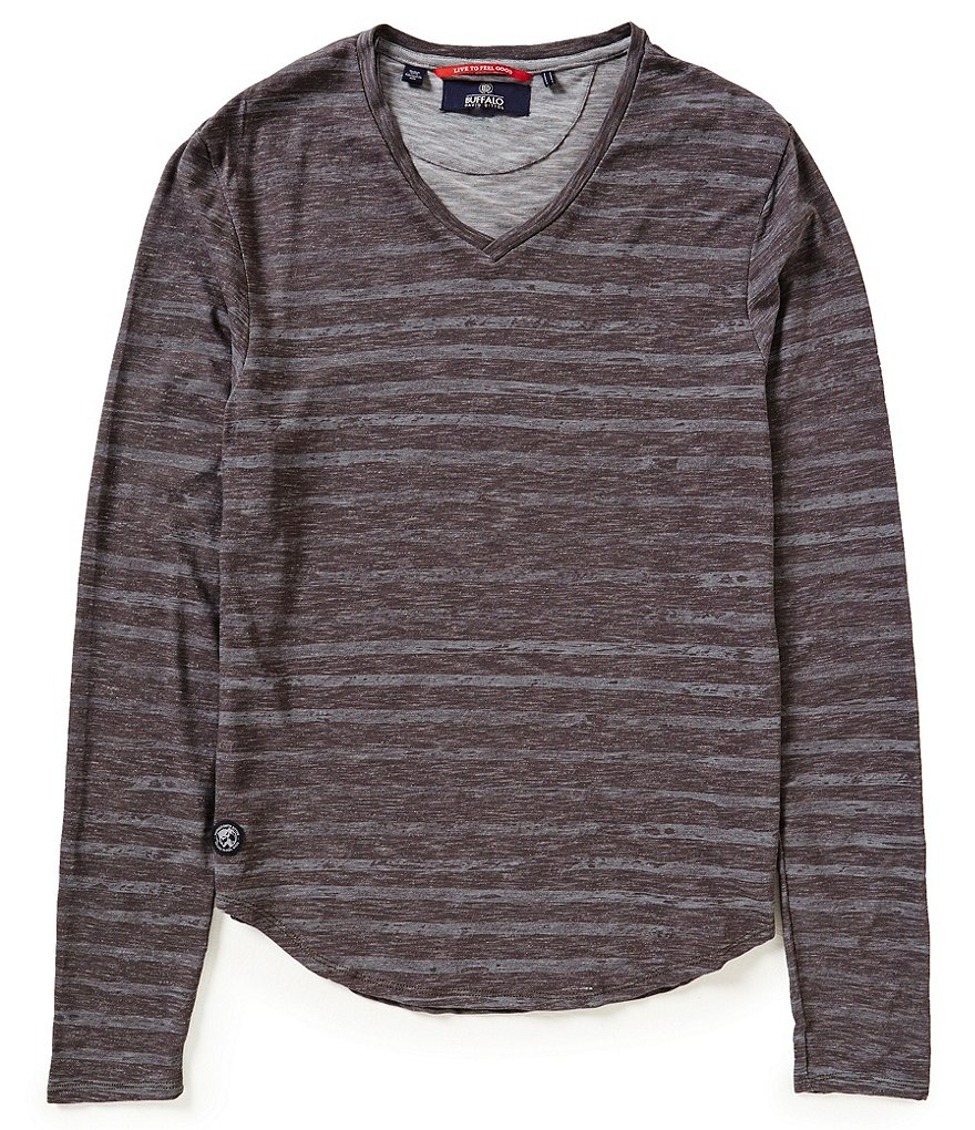 Buffalo David Bitton Horizontal Striped Long-Sleeve V-Neck Knit Tee