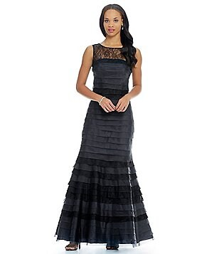 Kay Unger Illusion Lace Tiered Gown