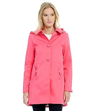 kate spade new york Single Breasted Detachable Hood Rain Jacket