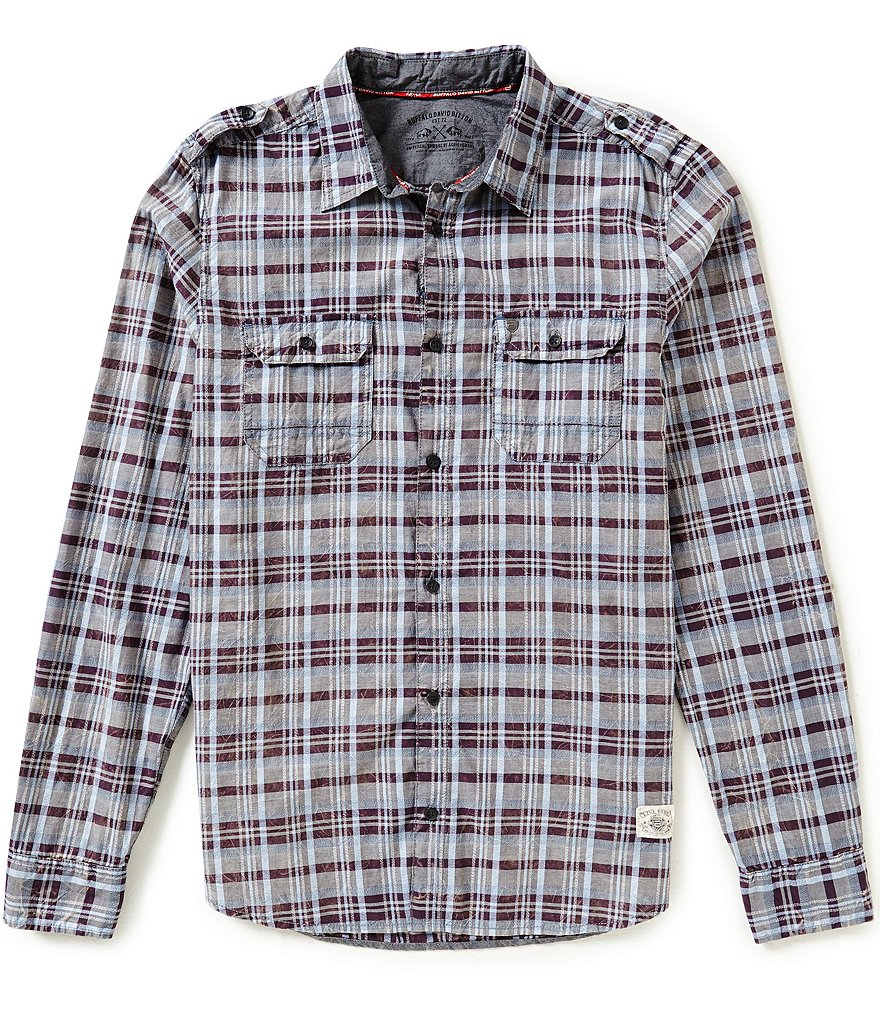 Buffalo David Bitton Plaid Woven Elbow Patch Shirt
