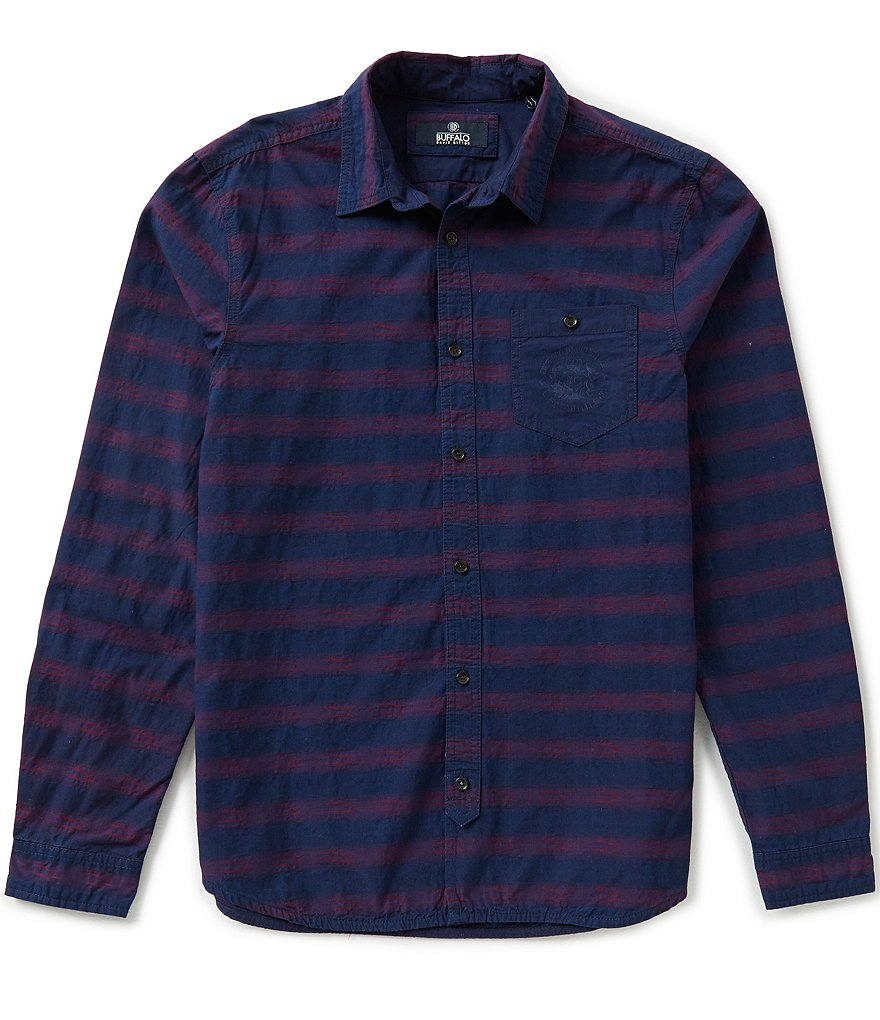 Buffalo David Bitton Textured Horizontal Stripe Jacquard Shirt