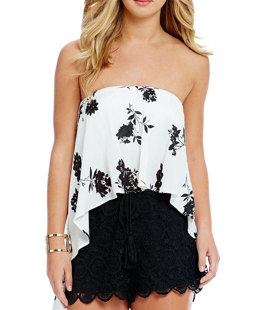 Soprano Floral-Printed Strapless High-Low Woven Top