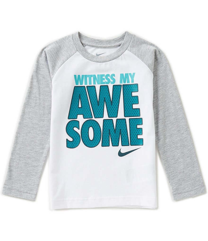 Nike Little Boys 2T-7 Witness My Awesome Raglan Long-Sleeve Tee
