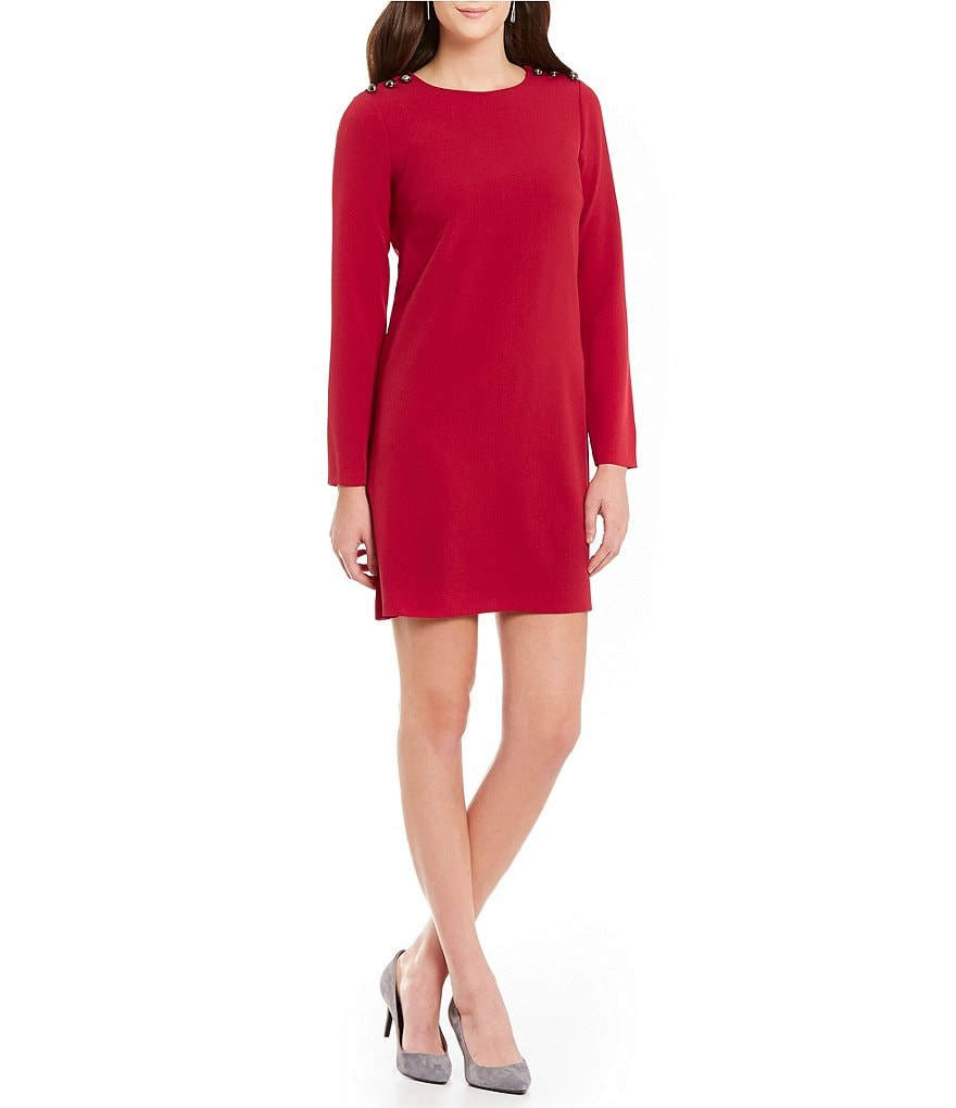 Adrianna Papell Long Sleeve Crepe A-Line Dress