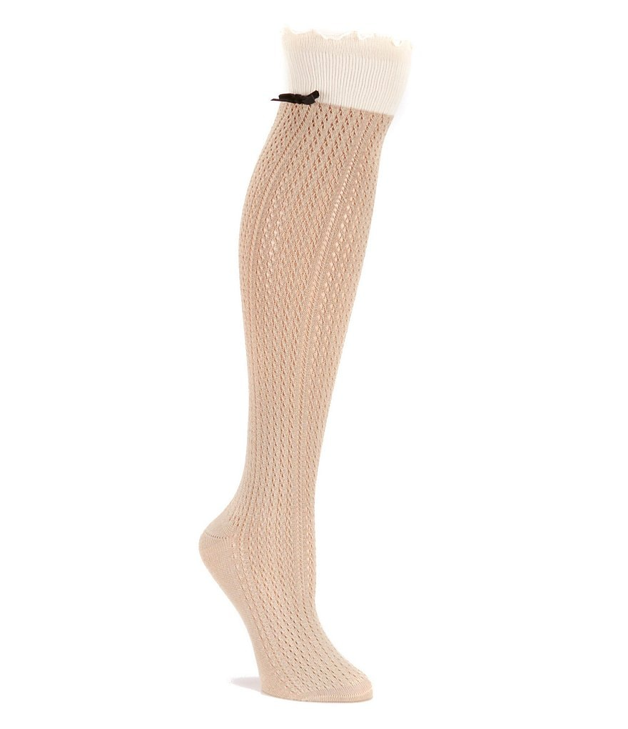 HUE Scalloped Openwork Knee Socks with Bow