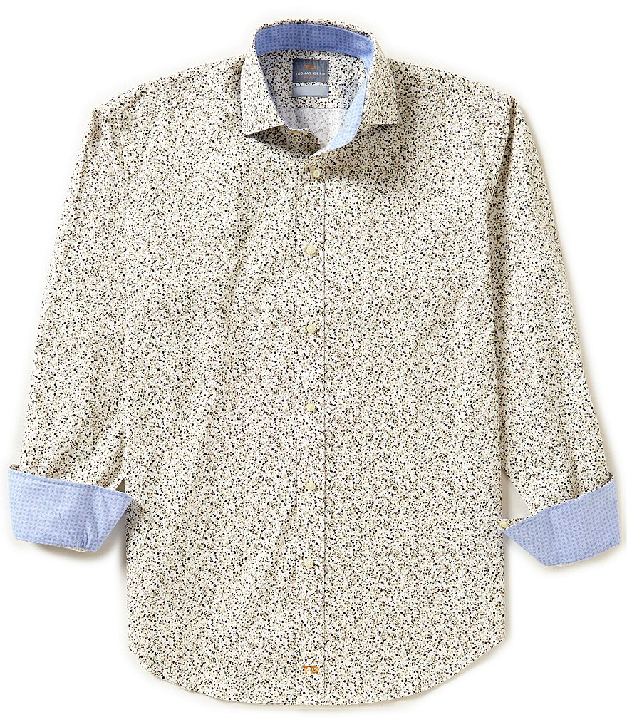Thomas Dean Big & Tall Long-Sleeve Dot Print Poplin Woven Shirt
