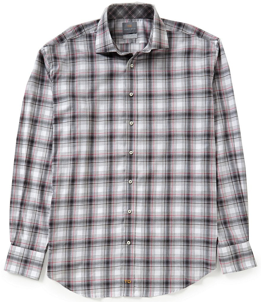 Thomas Dean Big & Tall Long-Sleeve Plaid Woven Shirt