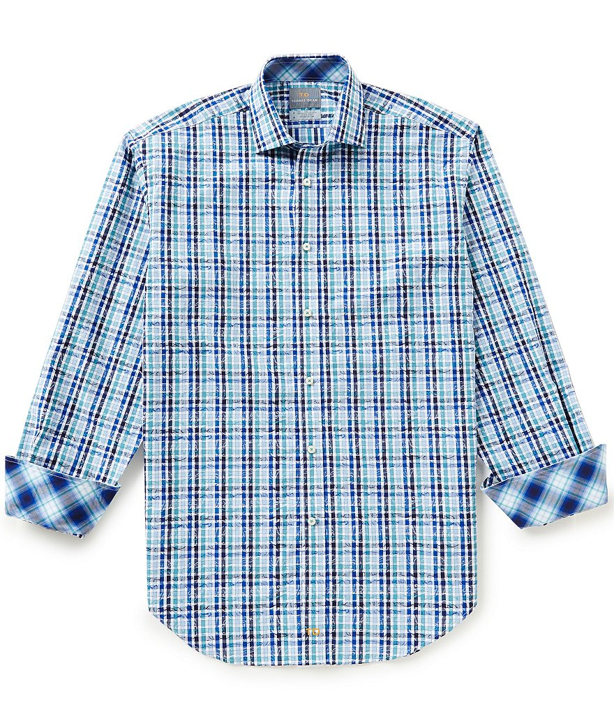 Thomas Dean Big & Tall Long-Sleeve Gingham Woven Shirt