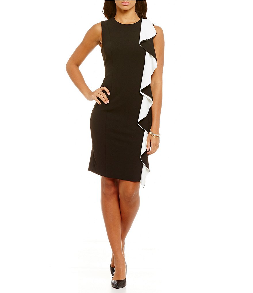 KARL LAGERFELD PARIS Round Neck Sleeveless Side Ruffle Sheath Dress