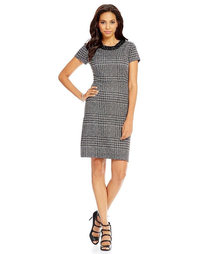 KARL LAGERFELD PARIS Glen Plaid Sheath Dress
