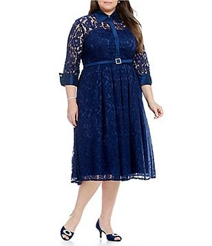 Eliza J Plus Lace Point-Collar Midi Dress