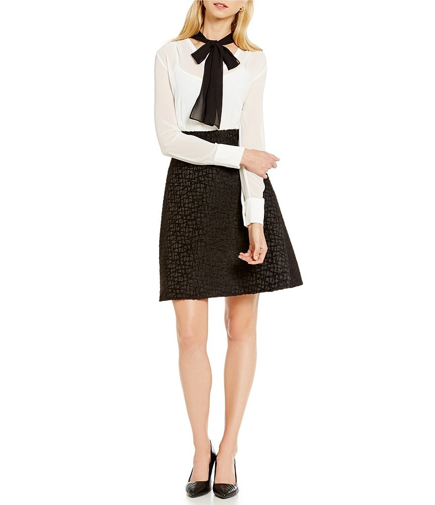KARL LAGERFELD PARIS Bow Neck Colorblock Fit-and-Flare Dress