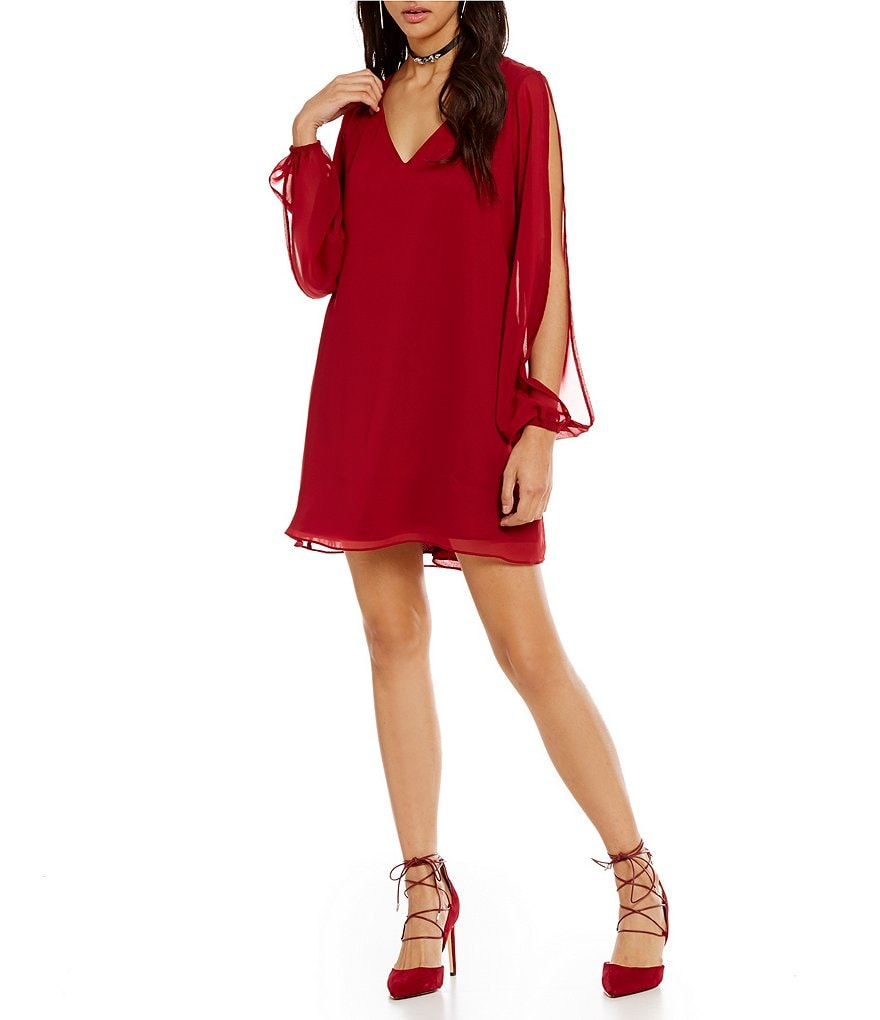 Lovers + Friends Gracie V-Neck Long Slit Sleeve Shift Dress