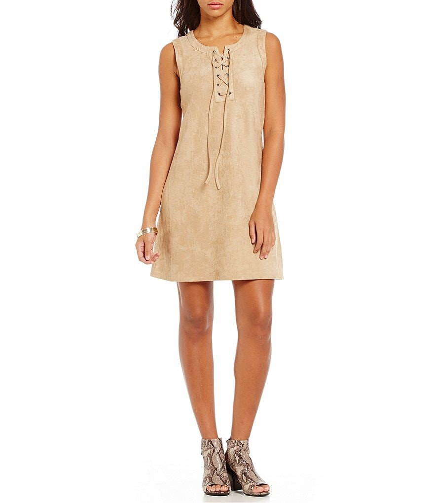 Cupio Faux-Suede Lace-Up Sleeveless Shift Dress
