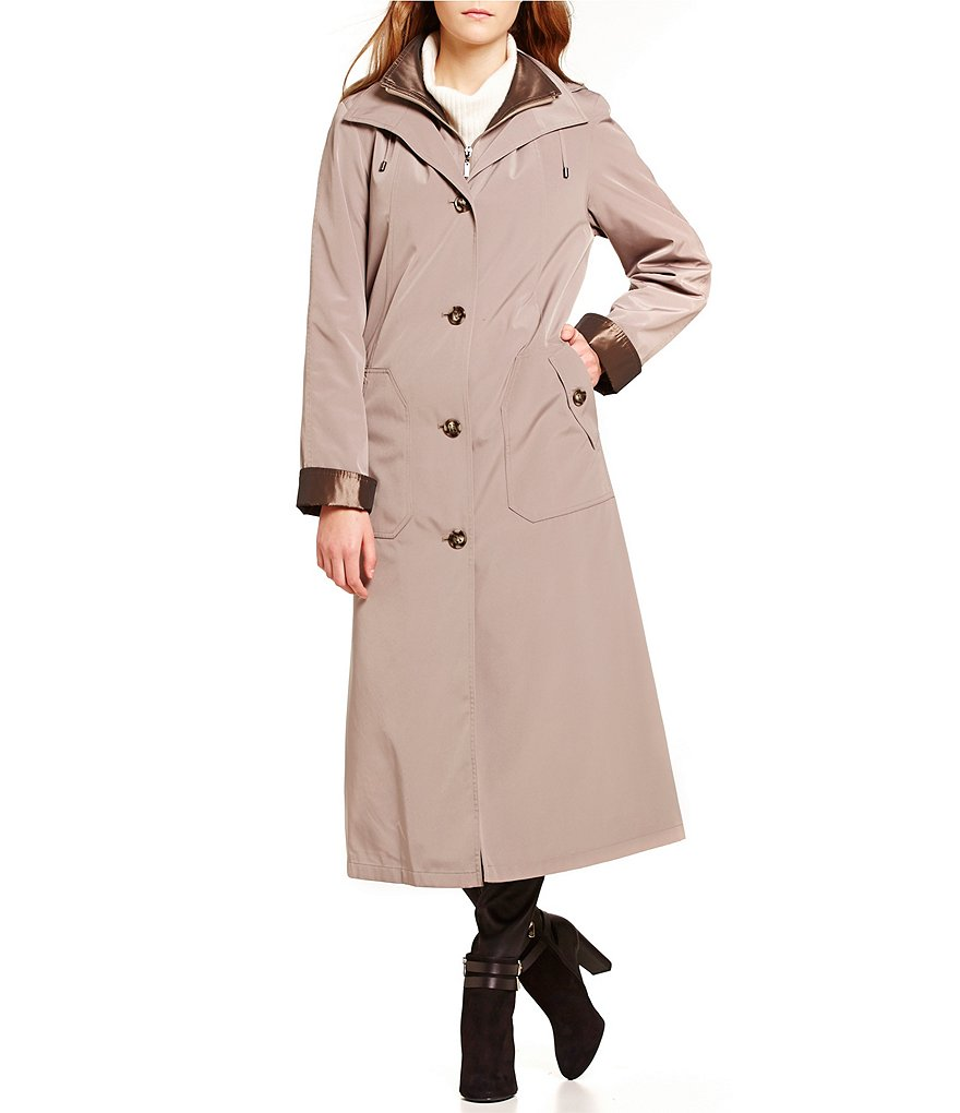 Gallery Long Single Breasted Silk-Look Raincoat