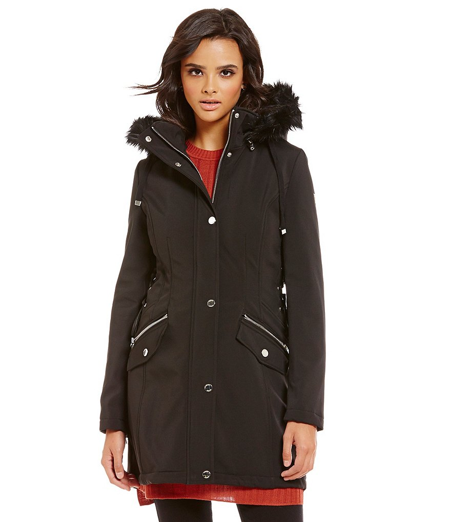 Guess Soft Shell Side-Lacing Faux-Fur Trimmed Hooded Coat