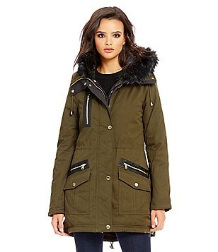 Guess Shawl Collar With Faux-Fur-Hood Parka