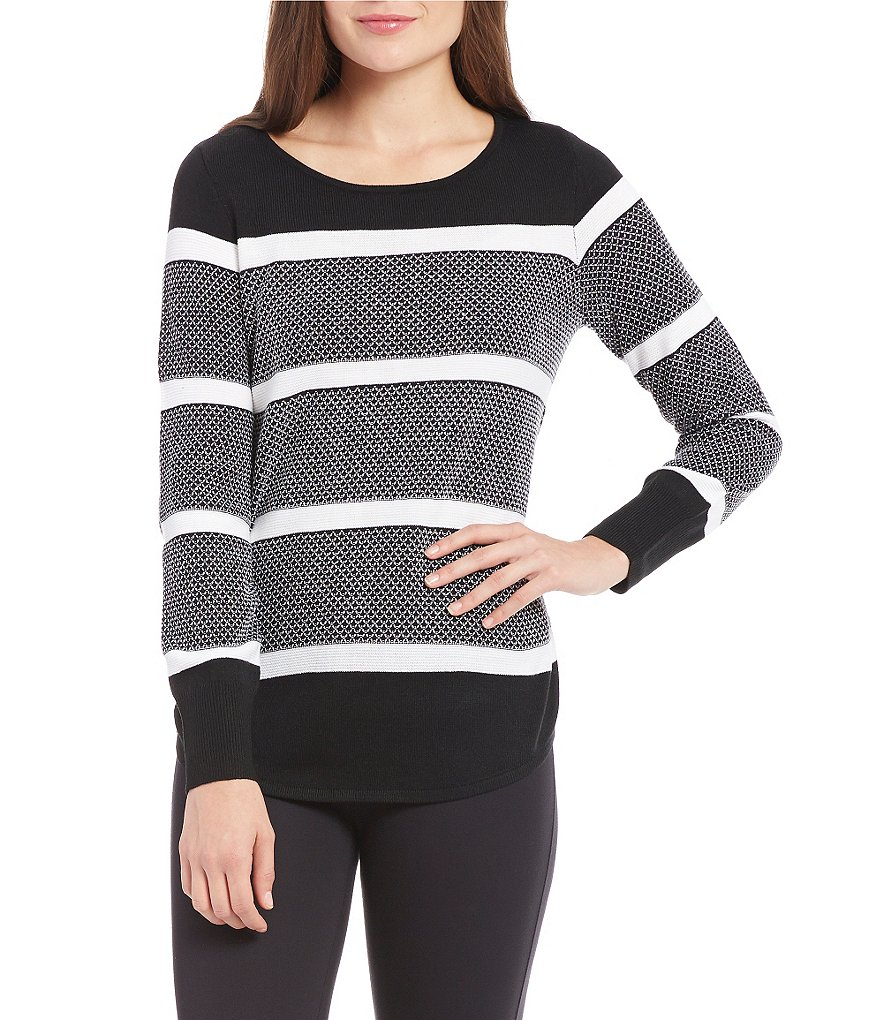Westbound 3/4 Sleeve Circle Hem Striped Sweater
