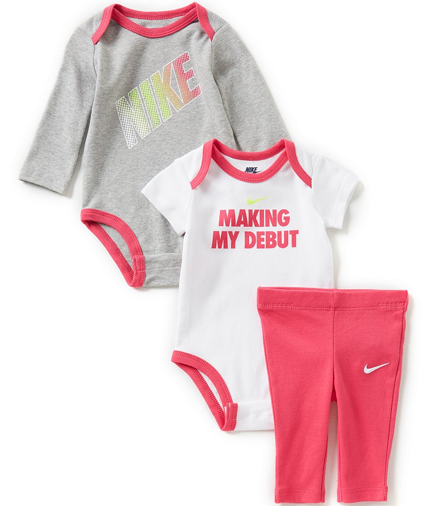 Nike Baby Girls Newborn-12 Months Long-Sleeve Bodysuit, Short-Sleeve Bodysuit & Leggings Set