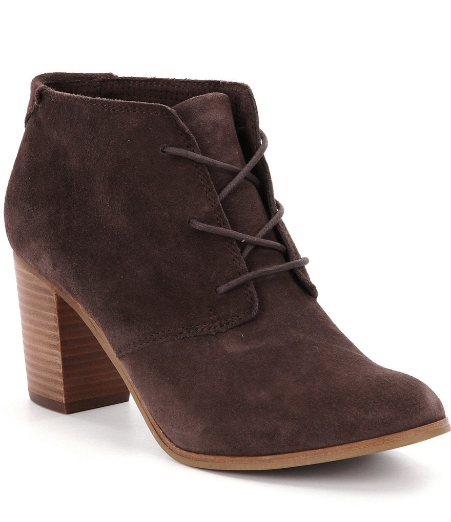 Toms Lunata Lace-Up Suede Booties