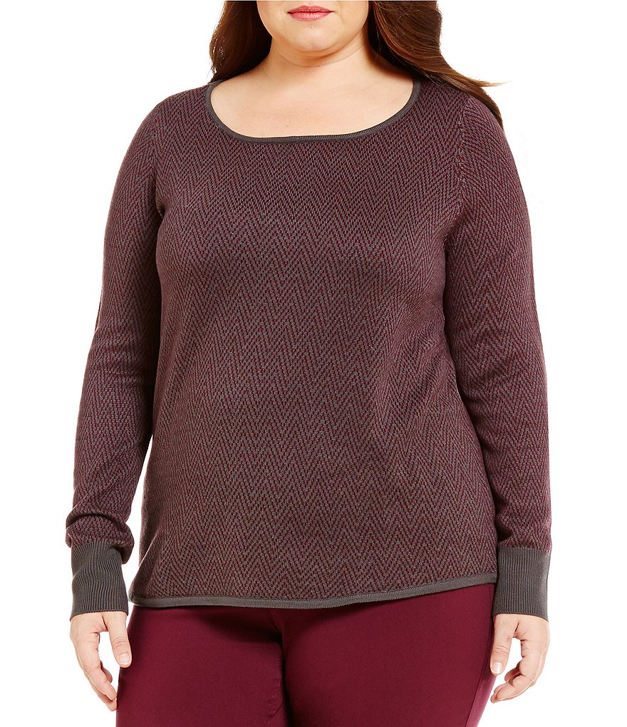 Westbound Plus 3/4 Sleeve Circle Hem Sweater