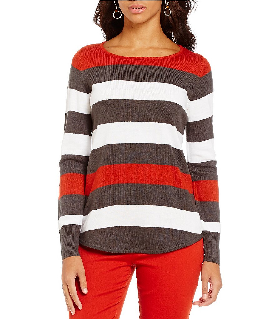 Westbound Petites 3/4 Sleeve Circle Hem Sweater