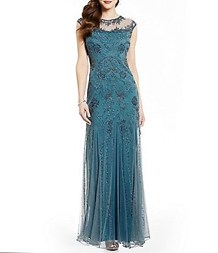 Pisarro Nights Illusion Neck Cap Sleeve Beaded Gown