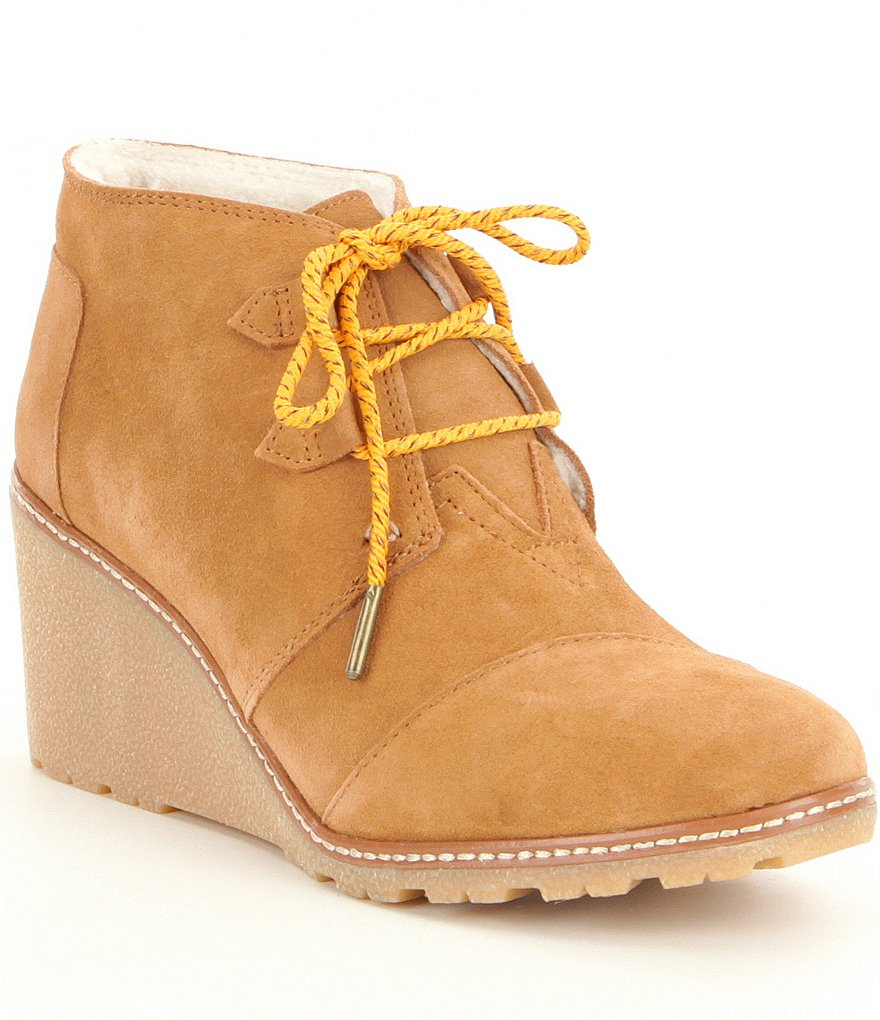 TOMS Desert Wedge Faux Shearling Booties